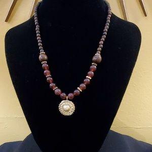 LOFT Brown Bead Gold Pendant Necklace #544